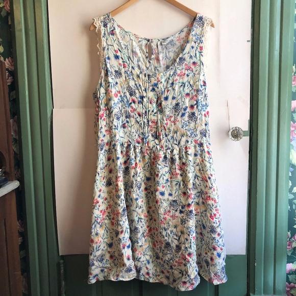 Women/'s LC Lauren Conrad Floral Lace Trim Racerback A-Line Dress,Size 2,Navy,NWT